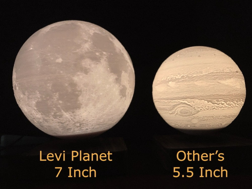 Levitating Planet Lamp 7 inch and 5.5 inch comparison
